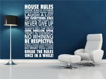 House Rules Wall Art Quote, Wall Sticker, Vinyl Transfer, Decal Modern Wall Art
